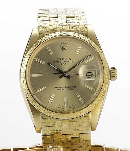 Rolex. An 18ct gold automatic calendar bracelet watch Ref:1503, 1970s