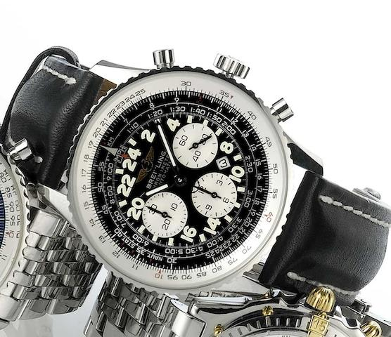Breitling. A stainless steel automatic chronograph wristwatch Cosmonaute, Sold March 2005