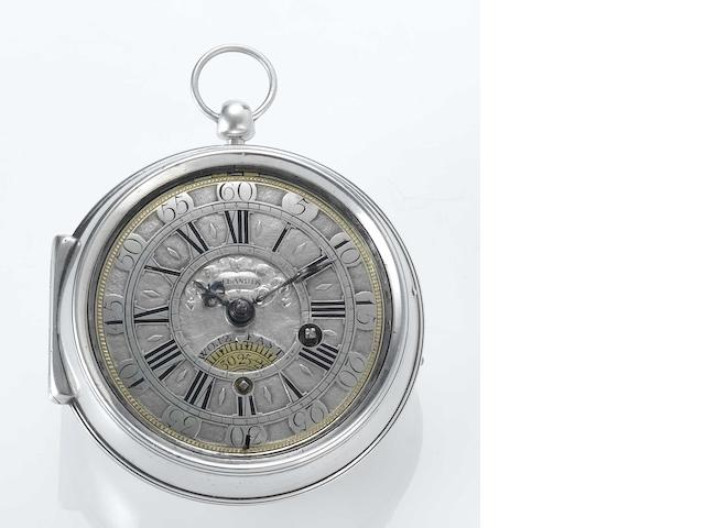 Daniel Delander. A fine and rare early 18th century silver pair cased pocket watch  Dan Delander, Devereux Court, London No.160