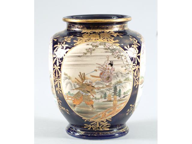A Japanese Satsuma oviform vase