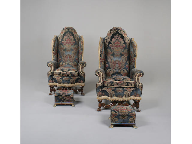 A pair of 17th century style walnut armchairs