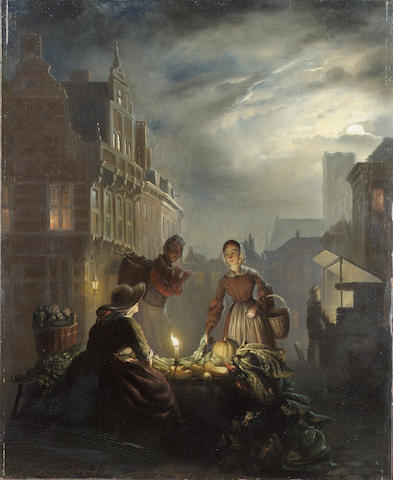 Petrus van Schendel (Belgian 1806-1870) At the vegetable market 36 x 29 cm. (14 1/4 x 11 1/2 in.)