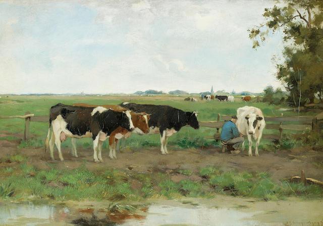 Adrianus Johannes Groenewegen (Dutch 1874-1963) Milking time 30.5 x 43 cm. (12 x 17 in.)
