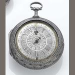 A rare early 18th century silver pair cased alarm watch with date  I Baron of Utrecht, circa 1720