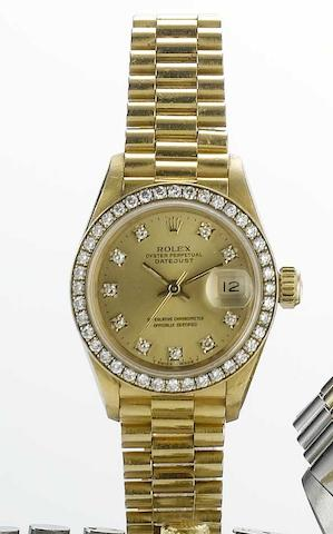 Rolex. An 18ct gold and diamond set automatic bracelet watch  Datejust, Ref:69000A, 1993