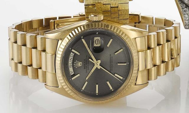 Rolex. An 18ct rose gold automatic calendar bracelet watch Day-Date, Ref:1803, 1960s