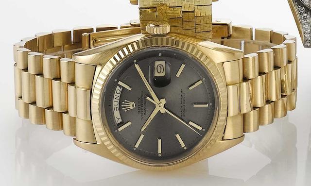 Rolex. An 18ct rose gold automatic calendar bracelet watch Day-Date, Ref:1803, 1960s