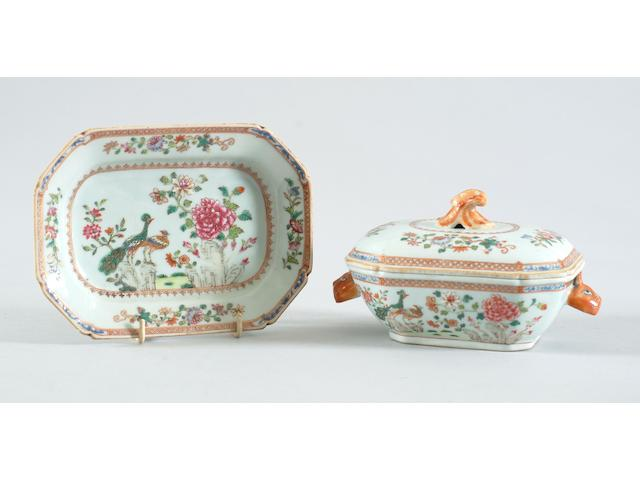 A Chinese export famille rose tureen, cover and stand