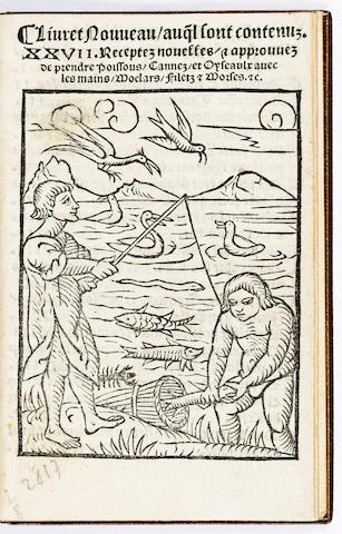 BOECXKEN, in French Livret nouveau auq[ue]l sont contenus XXVII receptes nouvelles, approuves de prendre poissons, cannes, et oyseaulx avec les mains, moclars, filetz et morses etc.