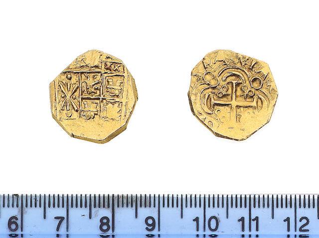 Colombia, Two Escudos, Philip V, early 1700's, Santa Fe (Bogota) mint mark?