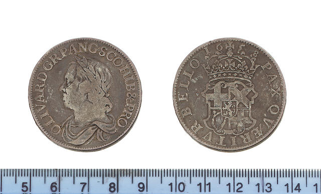 Oliver Cromwell, Crown, 1658, laureate and draped bust left,