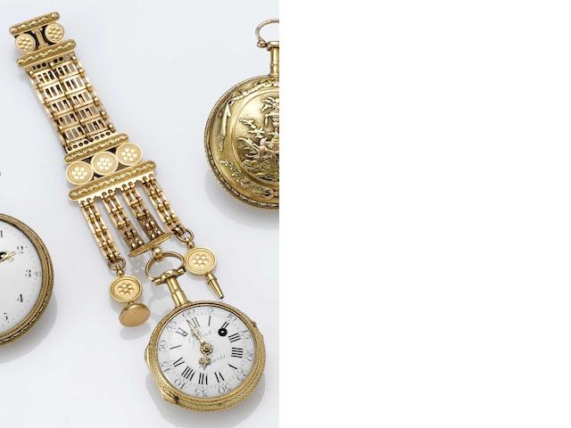 Swiss. An 18th century two colour gold decorated pocket watch with matching chatelaine Gilbert a Paris