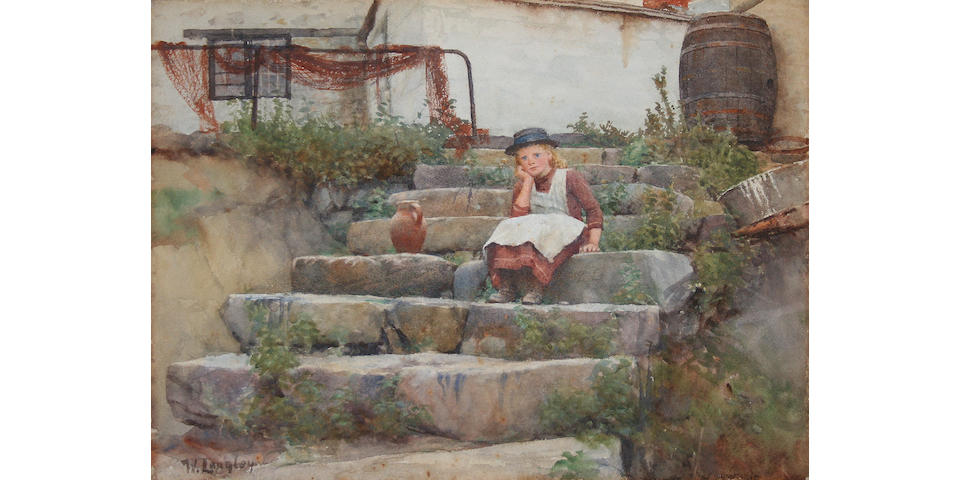 Walter Langley (1852 - 1922) 'Watching father's boat'
