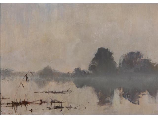Edward Seago, R.W.S. (1910-1974) 'River mist, Ludham' 35.5 x 51cm (14 x 20in).