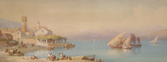 Swiss School  (19th Century) View on Lake Lugano 33.5 x 89cm (13¼ x 35in).