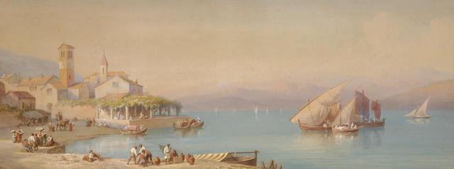 Swiss School  (19th Century) View on Lake Lugano 33.5 x 89cm (13¼ x 35in).