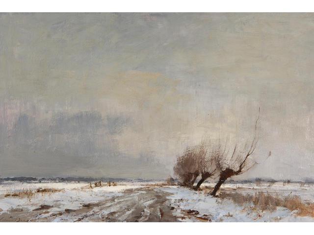 Edward Seago, R.W.S. (1910-1974) The marsh track, winter 40.5 x 51cm (16 x 20in).