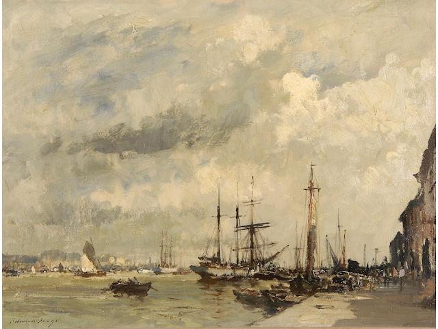 Edward Seago, R.W.S. (1910-1974) 'Lisbon Quayside' 46 x 61cm (18 x 24in).