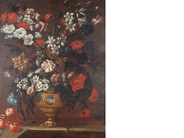 Roman School, 18th Century Lilies, chrysanthemums, carnations and roses in a bronze urn 109.4 x 83.5