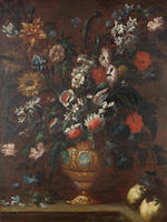 Roman School, 18th Century Lilies, chrysanthemums, carnations and roses in a bronze urn 109.4 x 83.5 cm. (43 x 32 7/8 in.) (2)