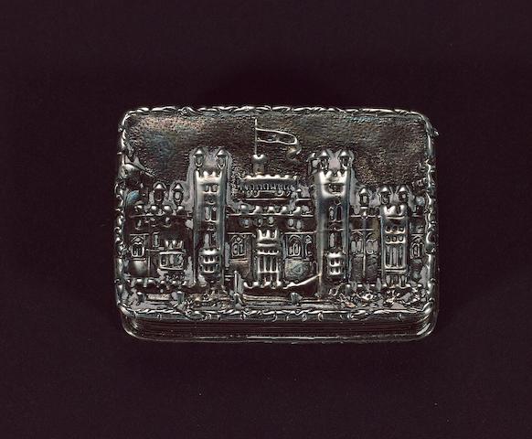 A Victorian silver castle-top vinaigrette, by Nathaniel Mills, Birmingham 1839,