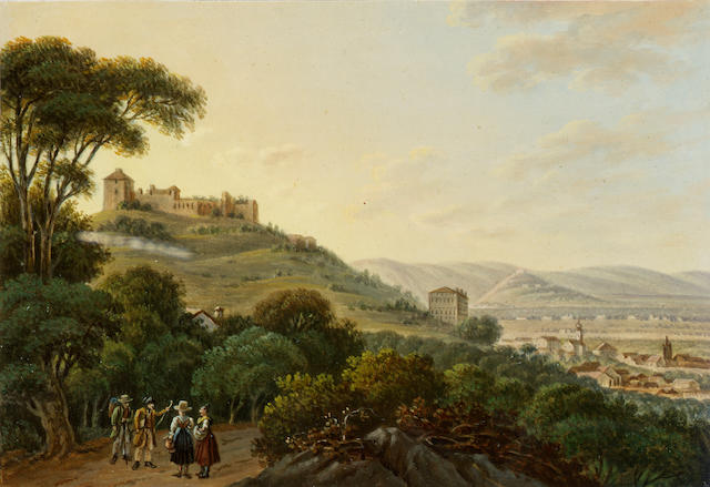 Franz Jaschke (Austrian 1775-1842) Vues Pittoresques dans la haute Italie seven 16.5 x 23 cm. (6 1/2 x 9 in.), one 24.5 x 18.5 cm. (9 1/2 x 7 1/4 in.) (8)