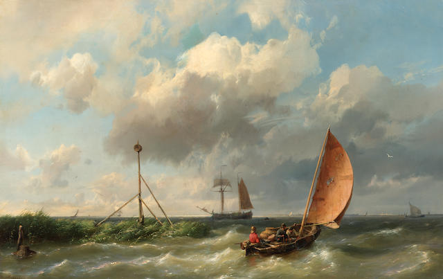 Hermanus Koekkeok, Snr (Dutch 1815-1882) A fishing vessel heading into open waters  36 x 55 cm. (14