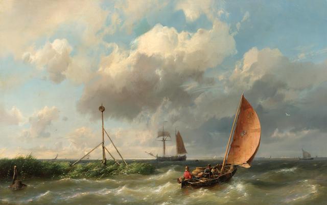 Hermanus Koekkeok, Snr (Dutch 1815-1882) A fishing vessel heading into open waters  36 x 55 cm. (14