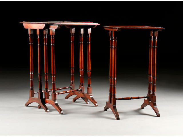 A nest of three 19th century mahogany tables