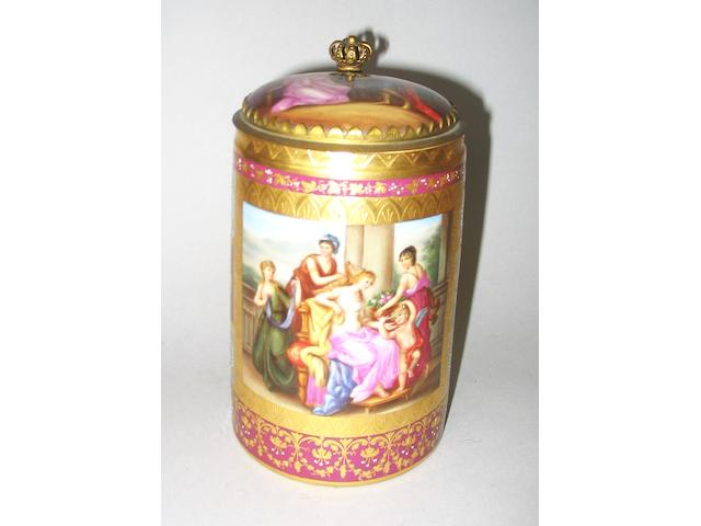 A Vienna style claret ground gilt metal mounted tankard and cover, late 19th century,