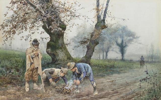 Ettore Roesler Franz (Italian, 1845-1907) Italian peasants tending a fire 50.8 x 78.8 cm. (20 x 31 in.)