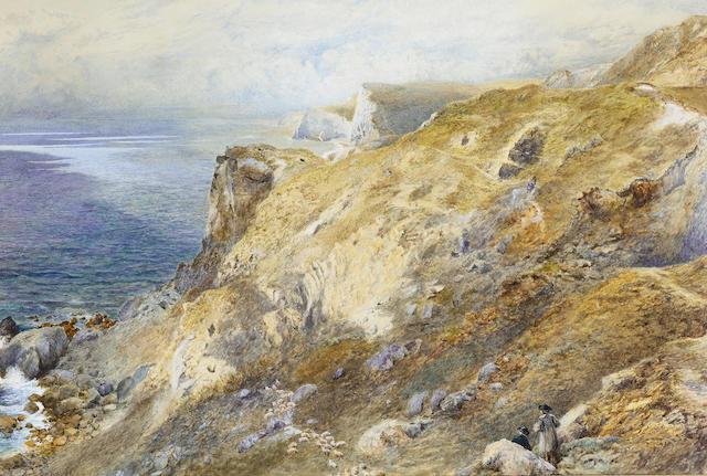 William Paton Burton R.B.A. (British, 1828-1883) Shepherds and their flock near Lulworth, Dorset 33.