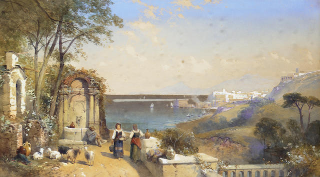 Thomas Charles Leeson Rowbotham N.W.S. (British, 1823-1875) Gossip at the well with Castel-a-Mare beyond, Italy 43.2 x 76.8 cm, (17 x 30 1/4 in.)