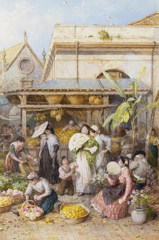 Myles Birket Foster R.W.S. (British, 1825-1899) A market place, Spain 55 x 36.5 cm. (21 3/4 x 14 1/4 in.)