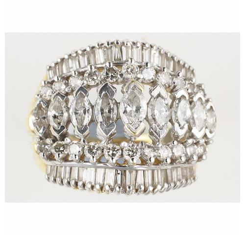 A multi stone diamond half hoop ring
