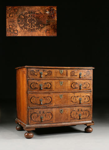 A late 17th century walnut and marquetry chest of drawers
