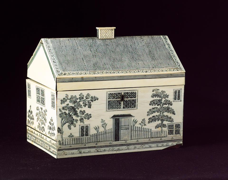 A Vizagapatam ivory veneered cottage Work Box