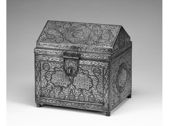 A Mamluk Revival silver and copper inlaid Casket Egypt or Syria, first half of the 20th Century