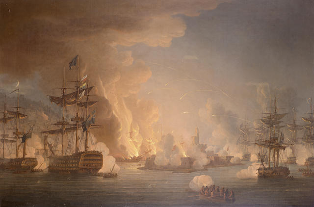 Thomas Whitcombe (British, c.1752-1824) The Bombardment of Algiers 76.2 x 117cm. (30 x 46in.)