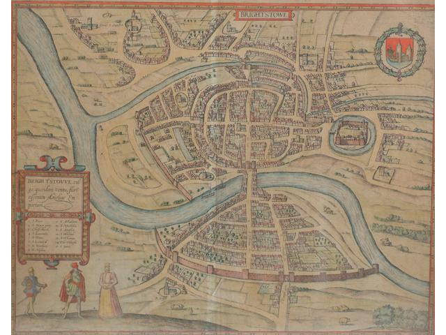 BRAUN and HOGENBERG Brightstowe, double-page hand-coloured map, [1582 or later]