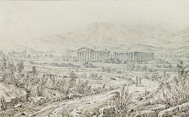 Antonio Senape (Italian, 1788-1850) Temple of Hera, Paestum; Aquaducts, Maddalone, two 18 x 28.5 cm. (7 x 11 1/4 in.); 17 x 25 cm. (6 3/4 x 10 in.) (2).