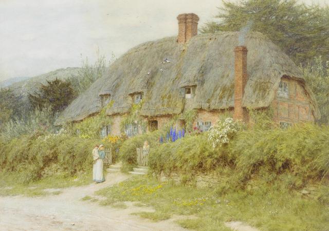 Helen Allingham, R.W.S. (British, 1848-1926) Old Cottages near Downton, Wiltshire 31.5 x 44 cm. (12 1/2 17 1/4 in.)