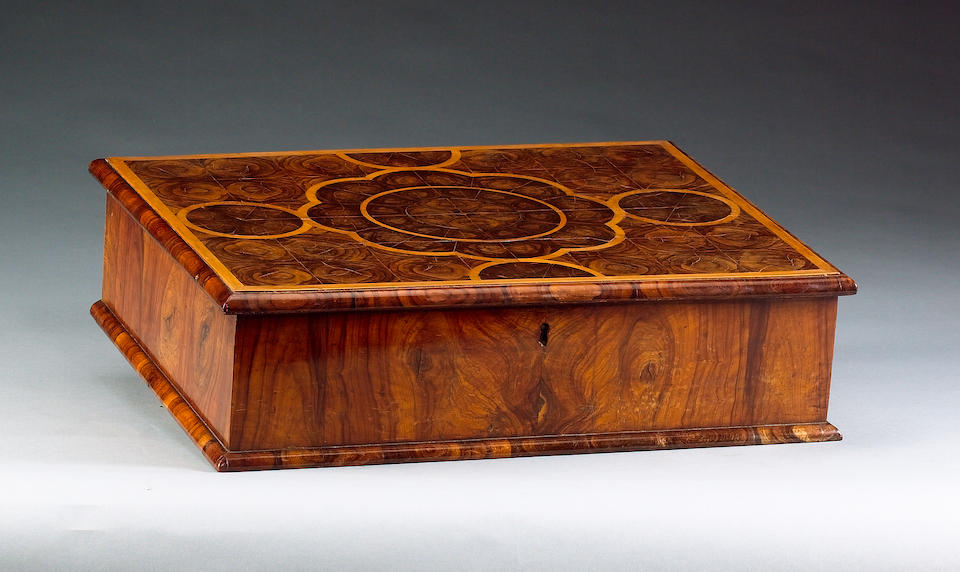 A William and Mary oyster veneered and walnut work / toilet Box