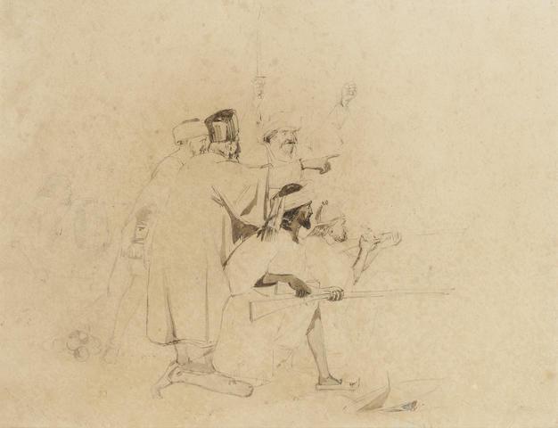 Sir John Everett Millais, Bt., P.R.A. (British, 1829-1896) Moorish soldiers 21.5 x 28 cm. (8 1/2 x 1