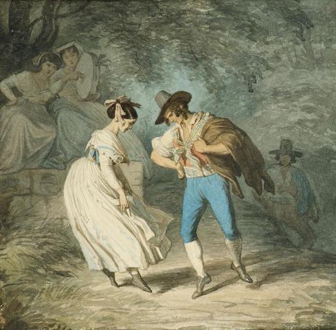 Alfred van (Jacques) Muyden (Swiss, 1818-1898) The tarantella 16 x 16 cm. (6 1/4 x 6 1/4 in.)