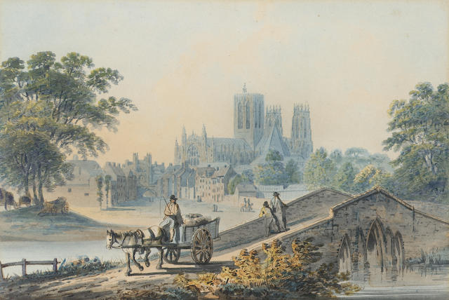 Francis Nicholson, O.W.S. (British, 1753-1844) York Minster from the river Foss 17 x 25.5 cm. (6 3/4 x 10 in.) 25.5 x 17cm