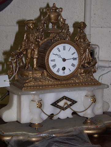 A late Victorian spelter mantel timepiece