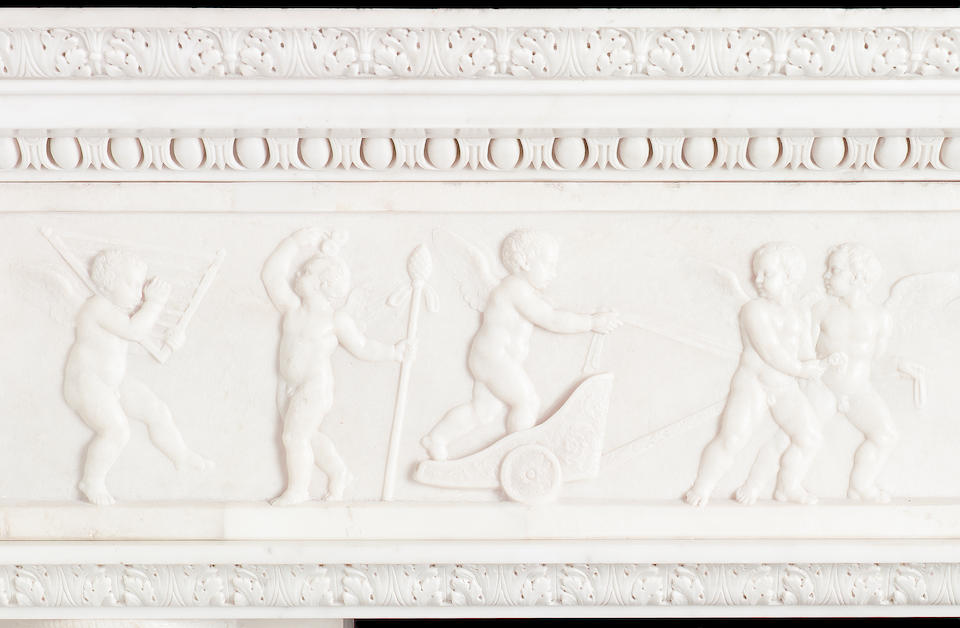 An Italian white carved marble Chimneypiece,