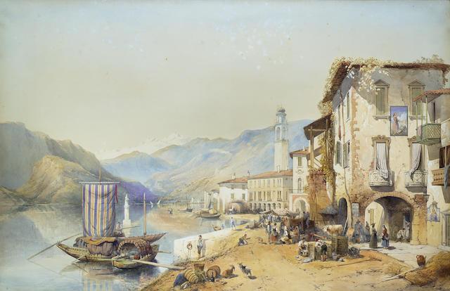 Thomas Charles Leeson Rowbotham R.I. (British, 1823-1875) At Palanza, Lago Maggiore, Italy 76.2 x 11