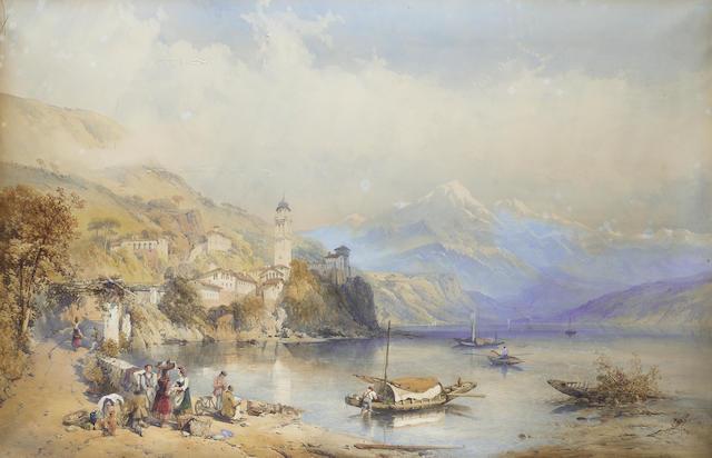 Thomas Charles Leeson Rowbotham R.I. (British, 1823-1875) Lago Lugano 69.8 x 108 cm. (27 1/2 x 42 1/